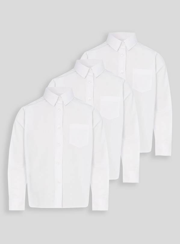 White Stain Resistant School Shirts 3 Pack - 13 years