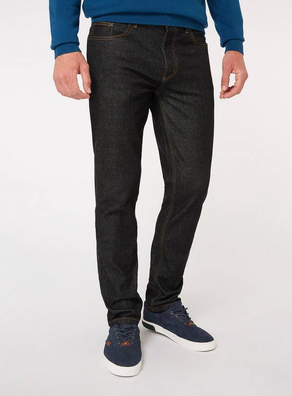 Black Wash Denim Slim Fit Jeans With Stretch - W34 L32