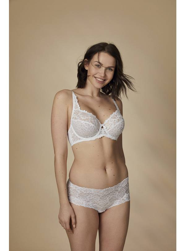 White Comfort Lace Full Cup Bra - 42D