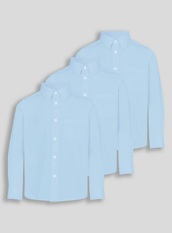 Blue Long-Sleeved School Shirts 3 Pack - 16 years