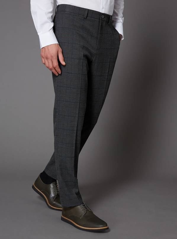 Grey & Burgundy Check Slim Fit Trouser With Stretch - W32 L3