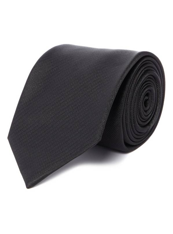 Black Herringbone Tie - One Size
