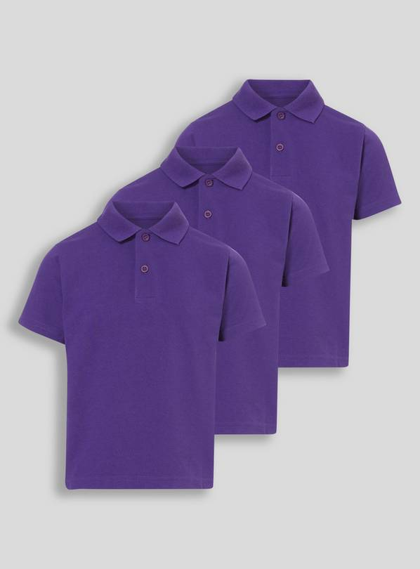 Purple Unisex Polo Shirts 3 Pack - 5 years