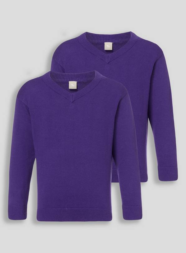 Bright Purple Two Pack V-Neck Jumpers - 11 years