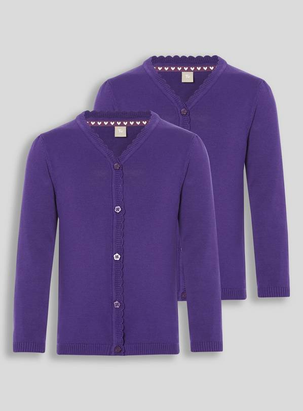 Purple Scalloped Cardigan 2 Pack - 4 years