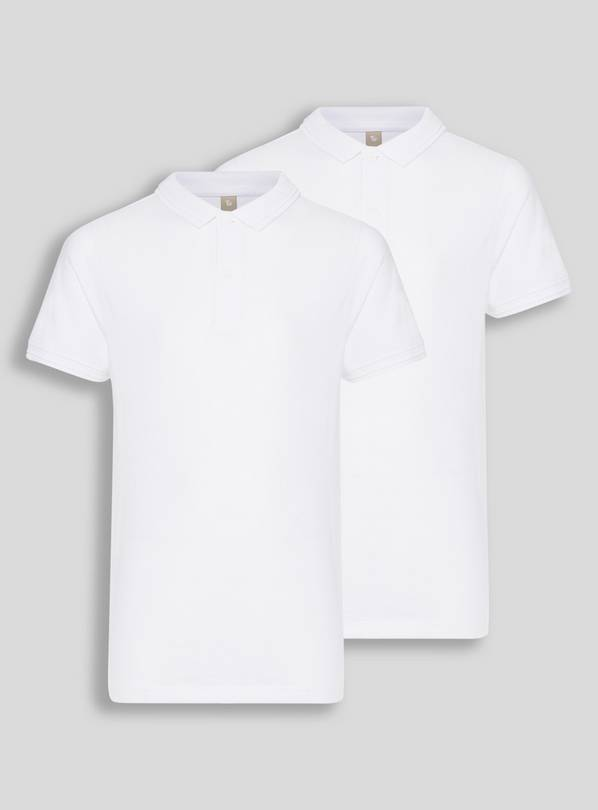 White Slim Fit Teen Polo 2 Pack - 12 years