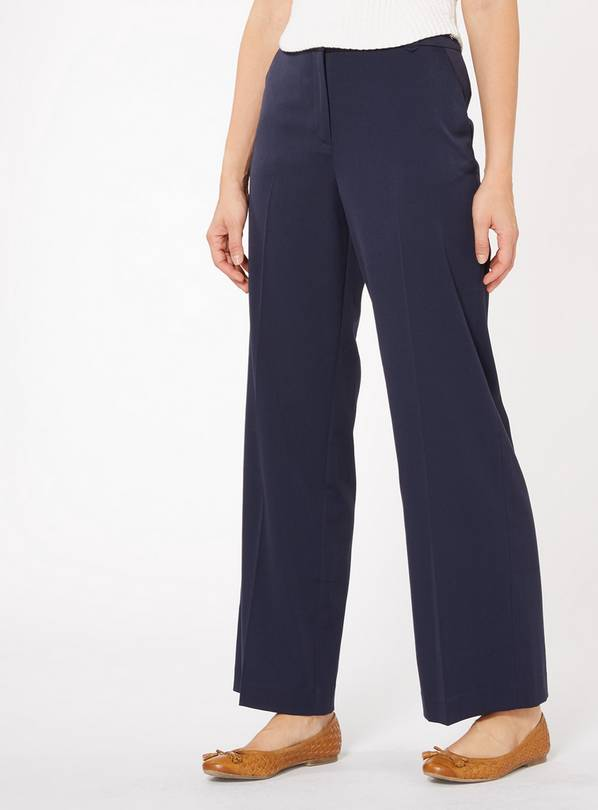 Navy Blue Wide Leg Trousers - 8S