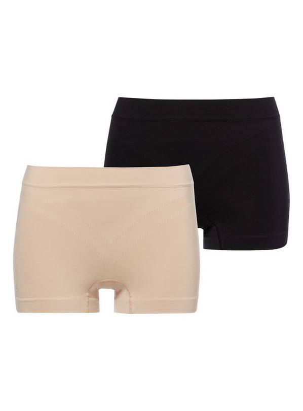 Black & Nude Seamless Firm Control Shorts 2 Pack - M