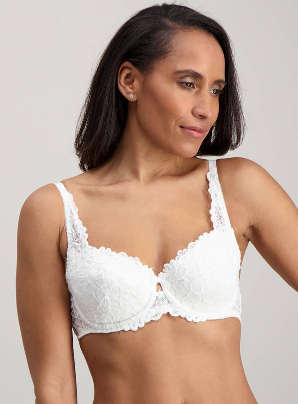 White Comfort Lace Padded Full Cup Bra - 36DD