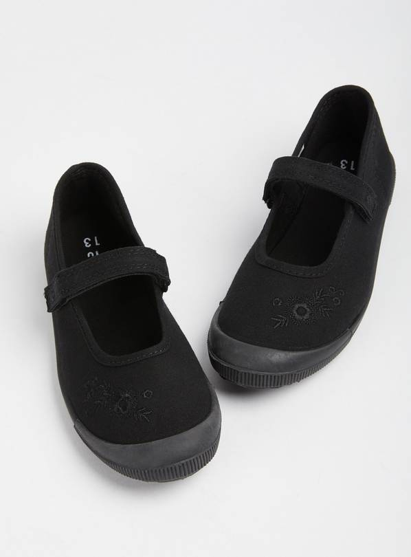 Black Mary Jane School Plimsolls - 10 Infant
