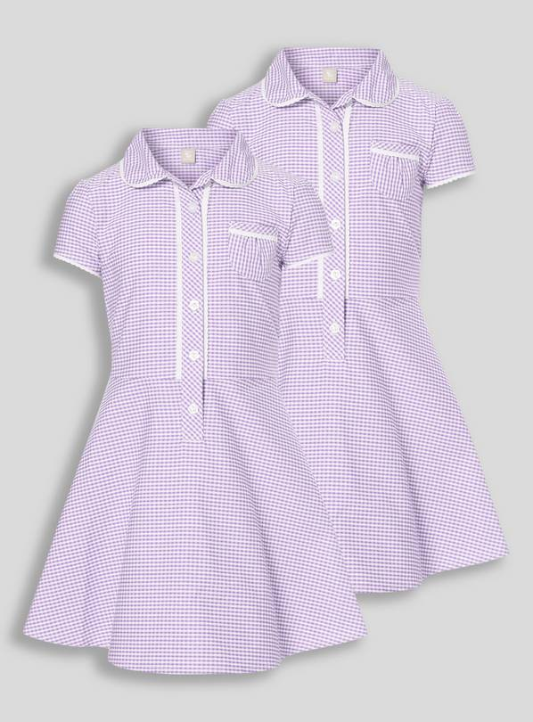 Lilac Classic Gingham School Dresses 2 Pack - 12 years