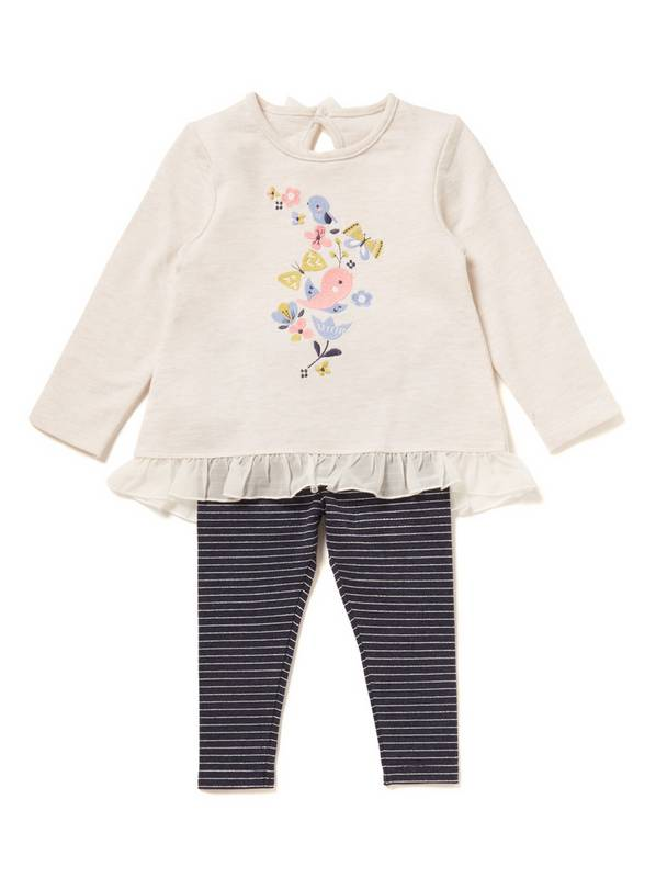 Multicoloured Bird Tee and Leggings Set - Newborn