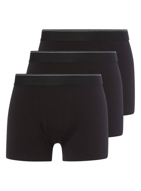 Black Cotton Rich Trunks 3 Pack - L