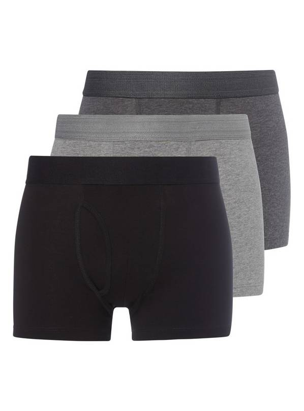 Grey & Black Trunks 3 Pack - M