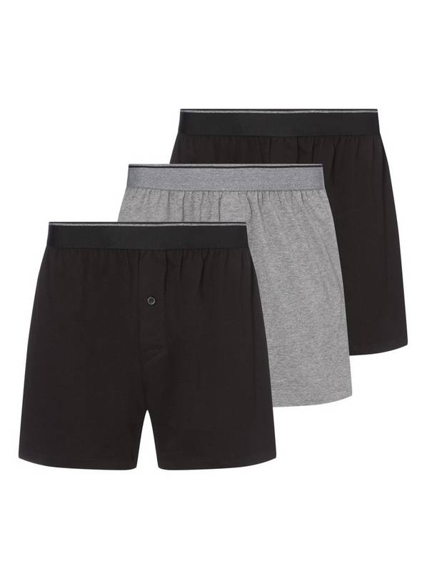 Black & Grey Jersey Boxers 3 Pack - M