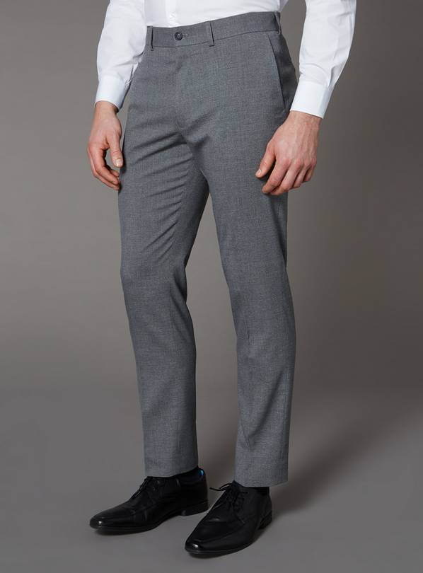 Grey Mini Dogtooth Slim Fit Trousers With Stretch - W38 L30