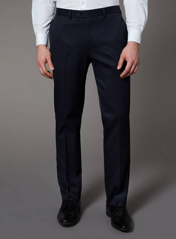 Navy Tailored Fit Trousers With Stretch - W42 L30