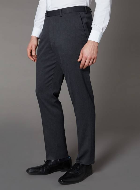 Grey Tailored Fit Trousers With Stretch - W36 L32