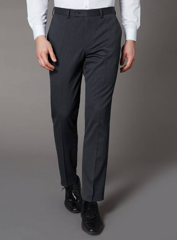 Grey Slim Fit Trousers With Stretch - W32 L29