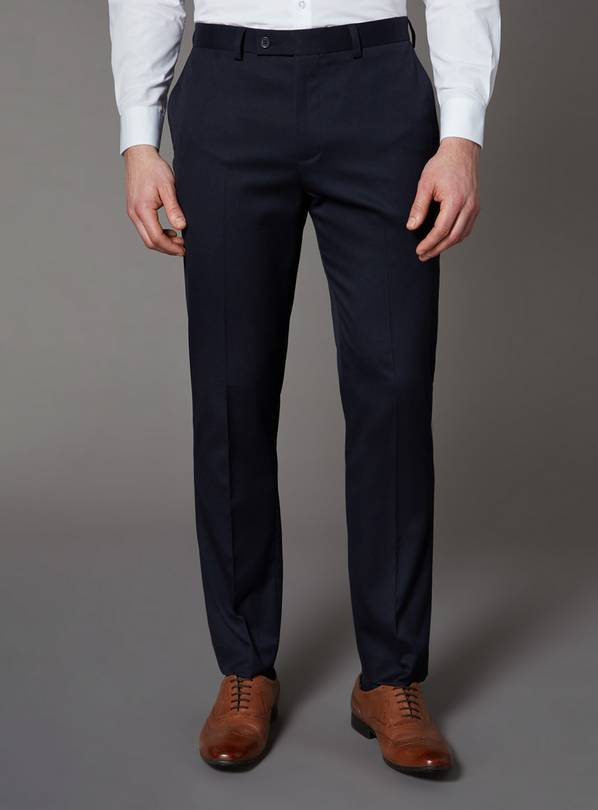 Navy Stretch Slim Fit Trousers - W32 L30