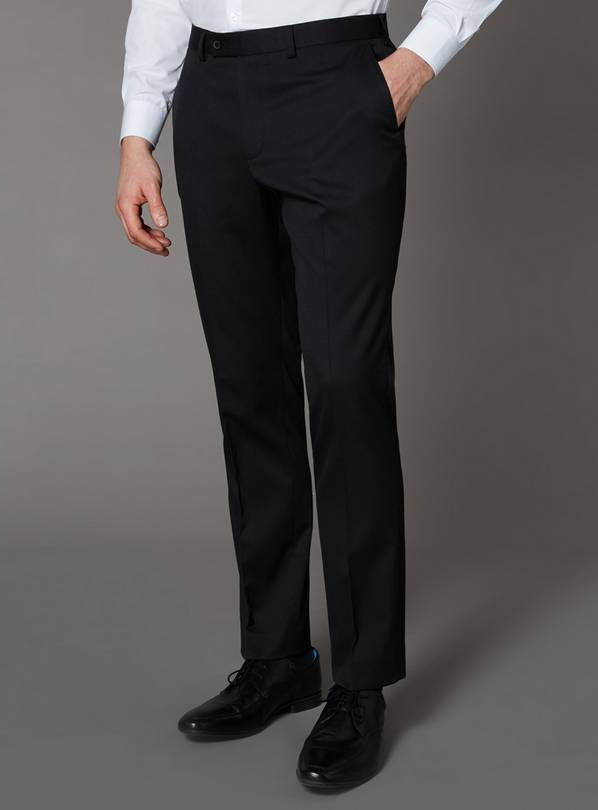 Black Slim Fit Stretch Trousers - W36 L32