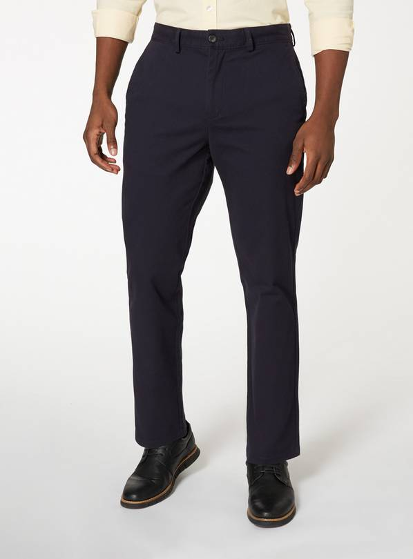 Navy Straight Leg Chinos With Stretch - W36 L34