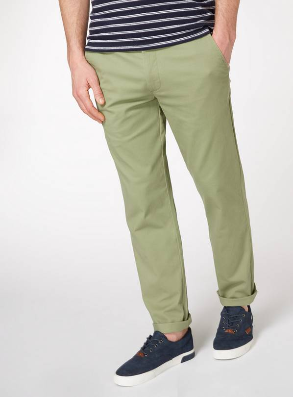 Light Khaki Straight Fit Chinos With Stretch - W40 L34