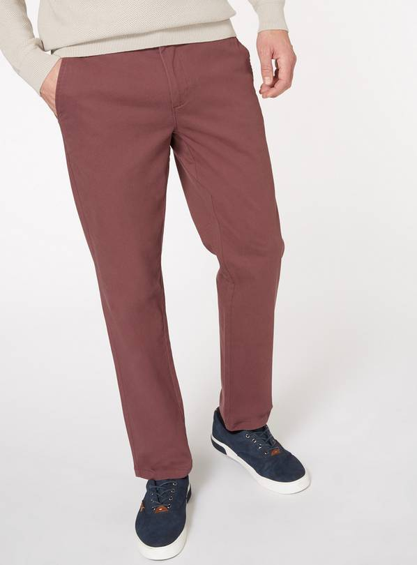 Purple Straight Fit Chinos With Stretch - W48 L32