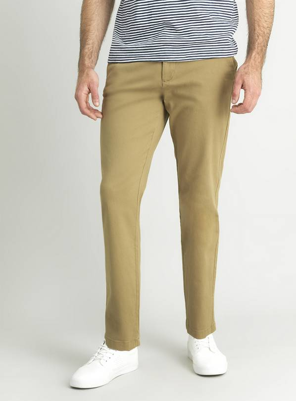 Stone Straight Leg Chinos With Stretch - W34 L34