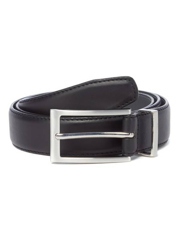 Black Faux Leather Feather Edge Belt - S