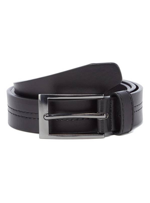 Black Faux Leather Centre Stitch Belt - S