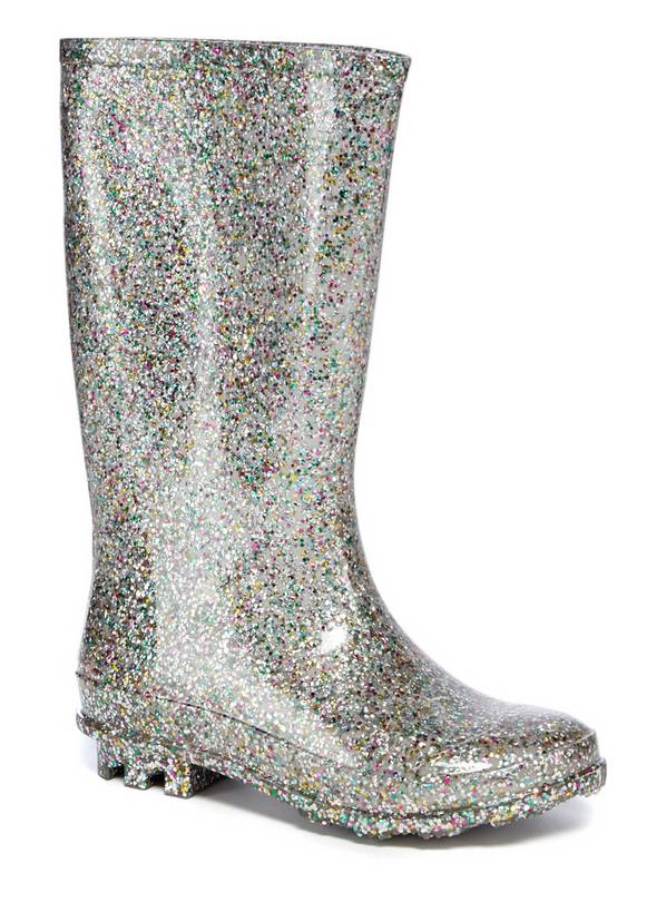 Silver Glittery Wellies - 8 Infant
