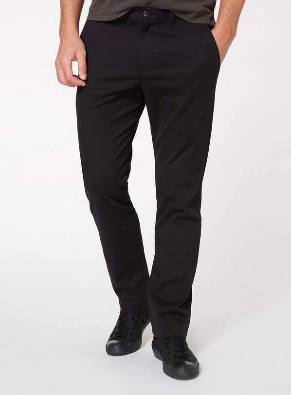 Black Straight Leg Chinos With Stretch - W38 L32