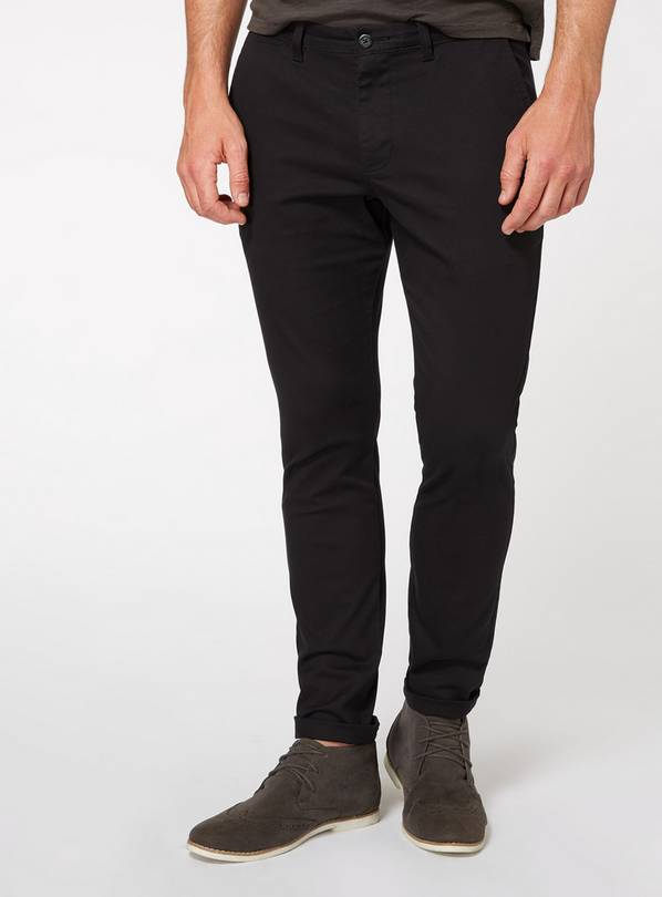 Black Slim Fit Chinos With Stretch - W40 L30