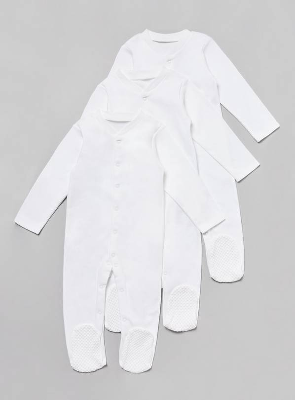 3 Pack White Sleepsuits - 2-3 years