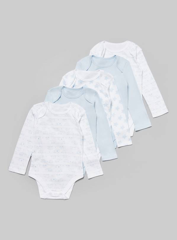 Blue Printed Long Sleeve Bodysuits 5 Pack - Newborn
