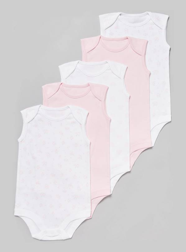 Pink Sleeveless Bodysuit 5 Pack - Up to 3 mths