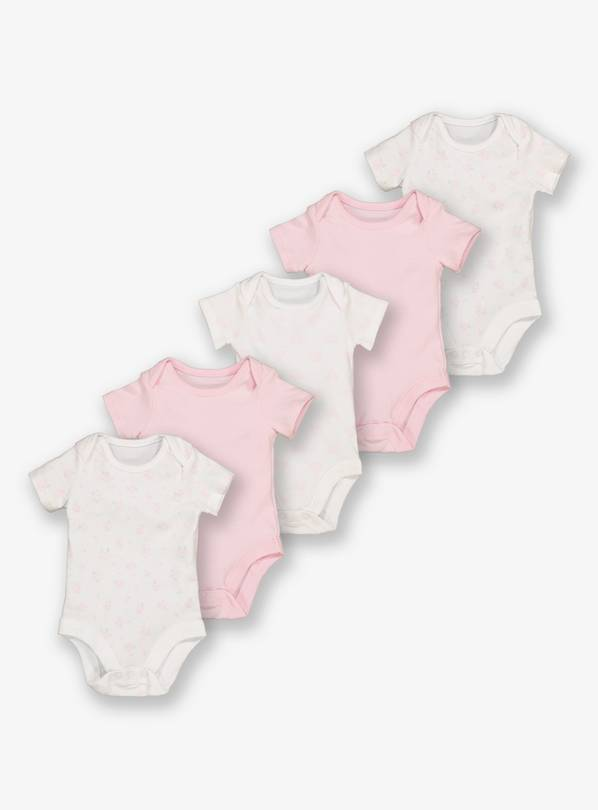 Pink & White Floral Bodysuit 5 Pack - Up to 3 mths