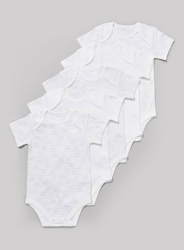 White Printed Bodysuits 5 Pack - 12-18 months