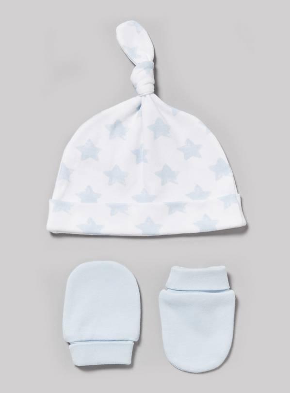 Buy Blue Scratch Mitt Tie Top Hat Set Newborn Argos
