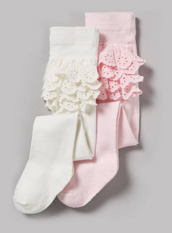 Pink & Cream Frilly Tights 2 Pack - 6-12 months