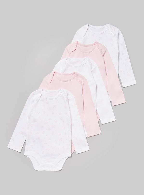 Pink Long Sleeve Bodysuit 5 Pack - Tiny Baby