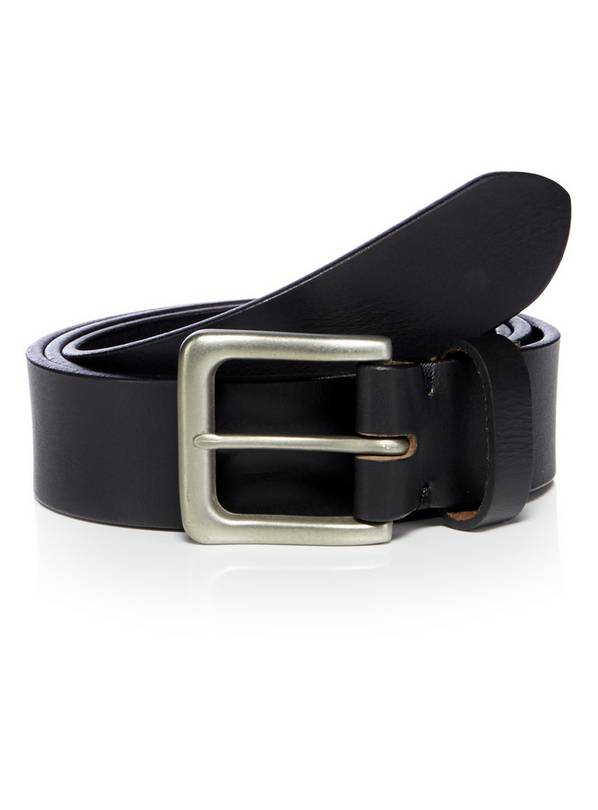 Black Leather Silver Buckle Belt - L