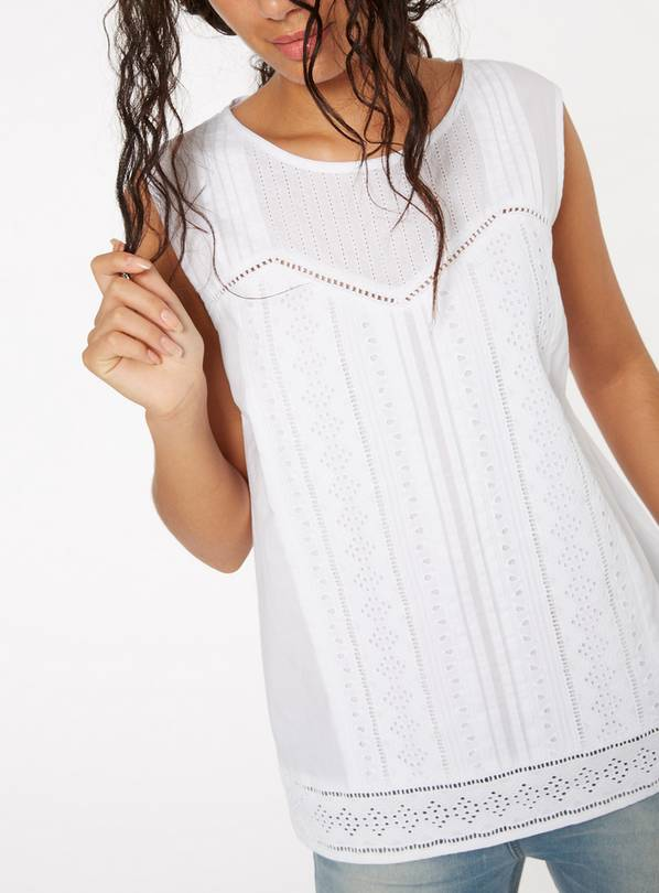 White Pleated Shell Top - 28
