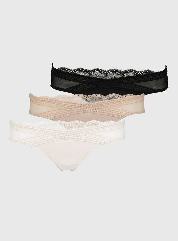 White, Black & Nude Crossover Lace Brazilian Knickers 3 Pack