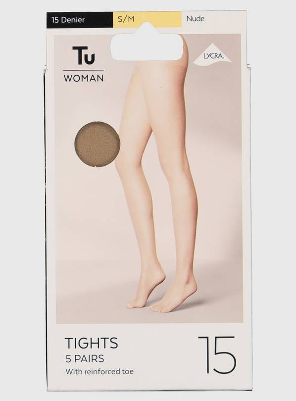 Nude 15 Denier Tights 5 Pack - L/XL
