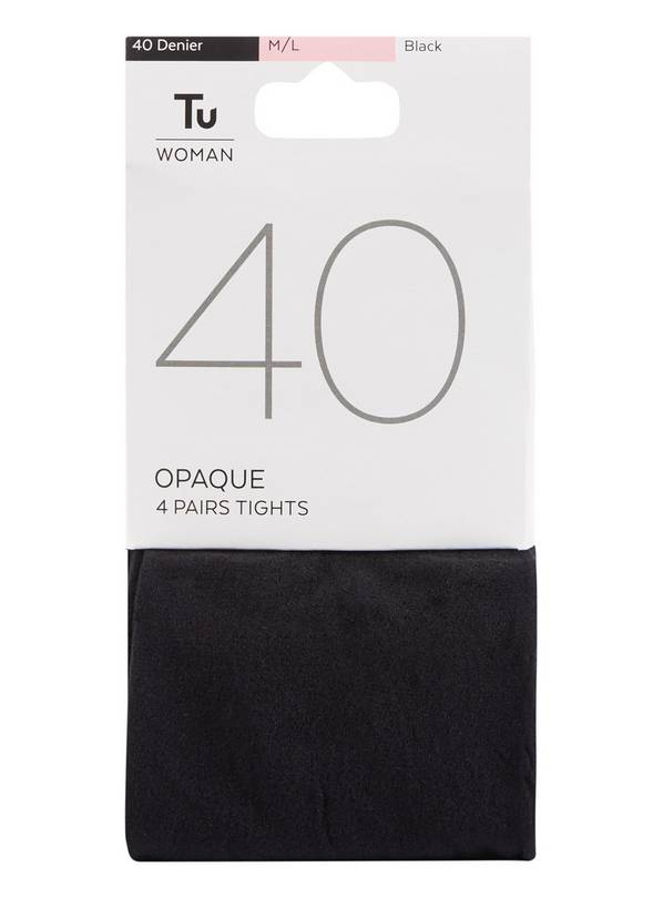 Black 40 Denier Opaque Tights 4 Pack - L/XL