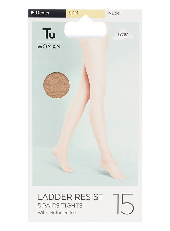 Latte Nude Ladder Resist 15 Denier Tights 5 Pack - M/L
