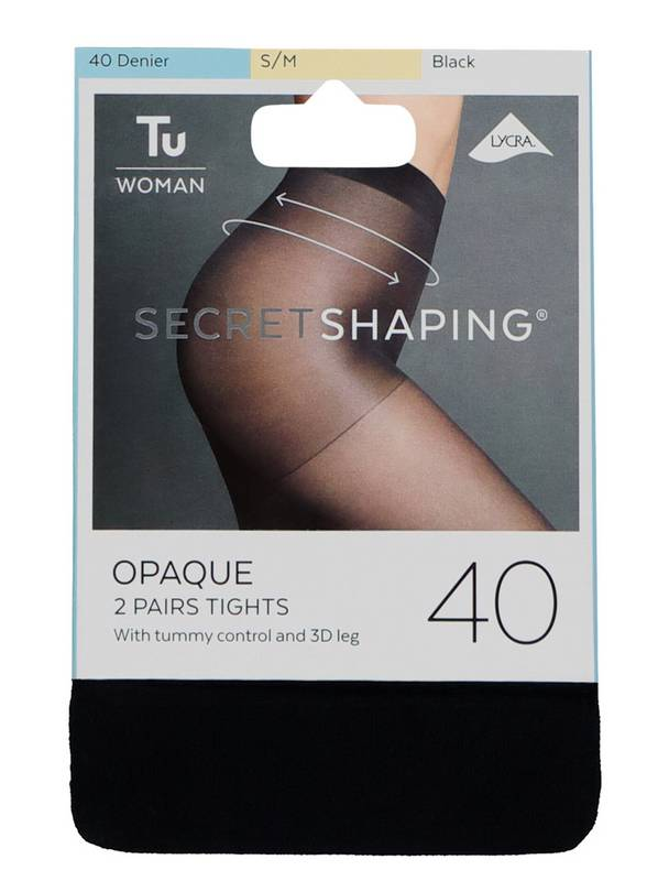 Secret Shaping Black 40 Denier Opaque Tights 2 Pack - S/M