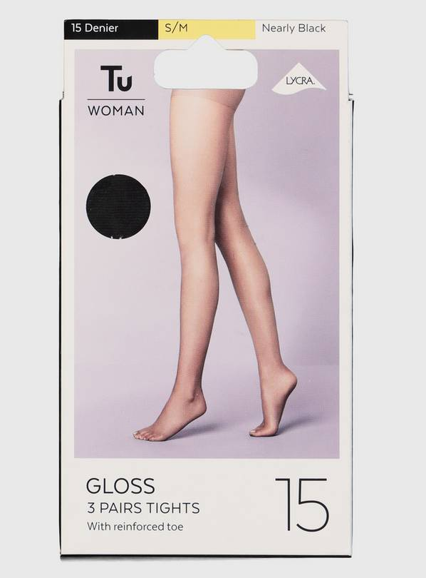 Nearly Black 15 Denier Gloss Tights 3 Pack - M/L